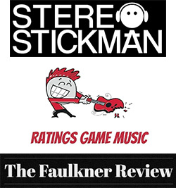 Logos for Stereo Stickman, Ratings Game Music, and the Faulkner Review
